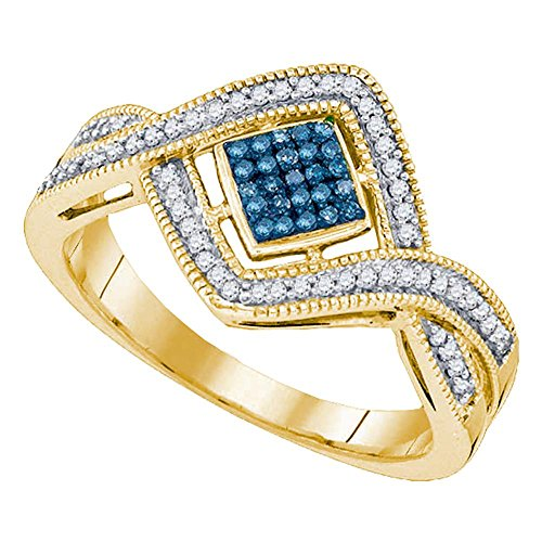 Jewels By Lux 10kt Yellow Gold Womens Round Blue Color Enhanced Diamond Square Frame Twist Cluster Ring 1/6 Cttw Ring Size 7 (Diamond Enhanced Gold Yellow)