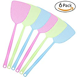 Fly Swatter, CANCA Manual Plastic Swat Pest Control With 17.5'' Long Durable Handle Assorted Colors Pack of 6