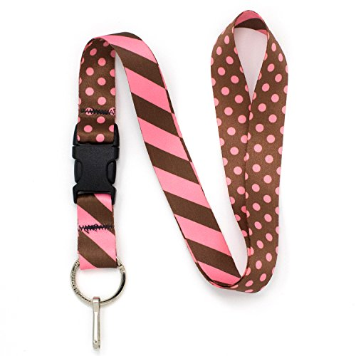 Buttonsmith Chocolate and Pink Dots Premium Lanyard with Buckle and Flat Ring - Made in The USA