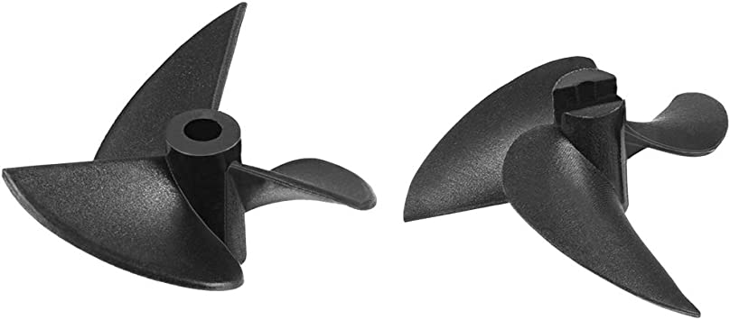uxcell RC Boat CW CCW Propeller 4mm Shaft 3 Vanes 28mm Fan Shape Pastic Black Rotating Propeller Props for RC Boat 2pairs