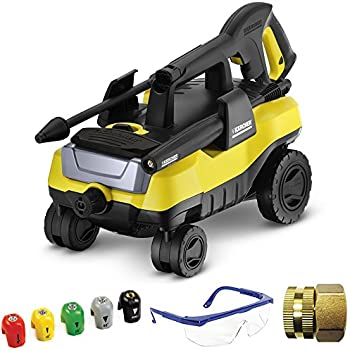 Karcher K 3.000 Follow Me Electric Pressure Washer Deluxe Accessory Bundle includes Pressure Washer, Quick-Spray Tip, Brass Connector and Protective Safety Glasses