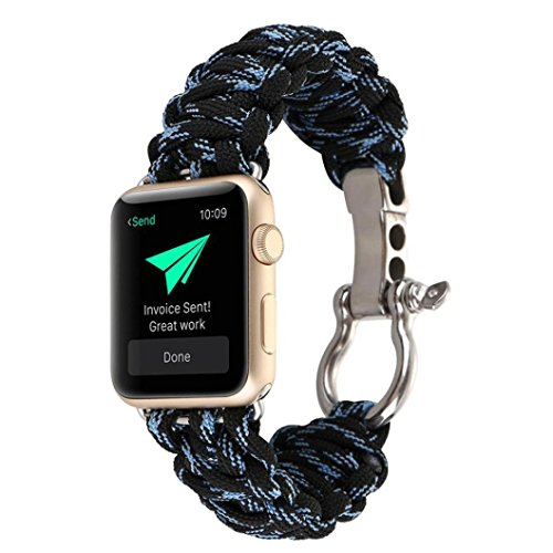 Sopety NEW Sports Nylon Rope Survival Bracelet Watch Band For Apple Watch Series 3 42MM - Red Ban