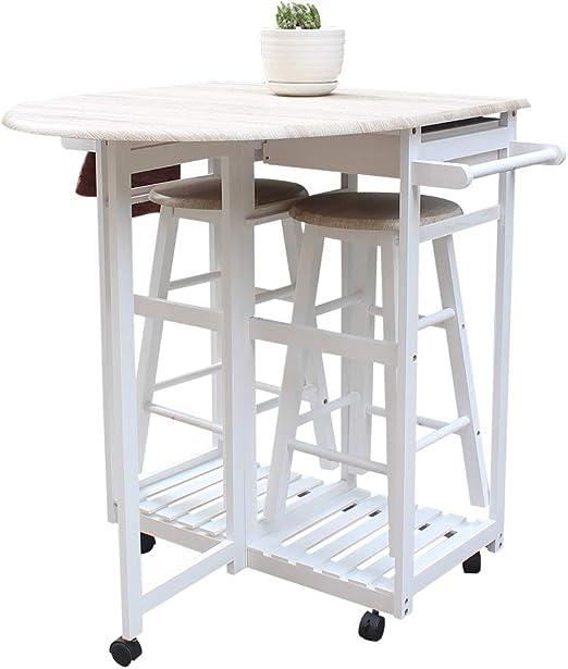 Juego de mesa de comedor de madera con 2 taburetes, carrito de cocina con ruedas, mesa
