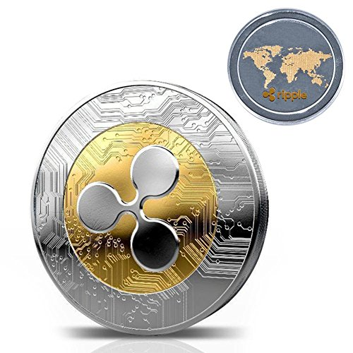 Taimot Ripple Coins with Commemorative Round Collectors Coin XRP Physical Coins Digital Blockchain Crypto Currency Blockchain Commemorative Cryptocurrency Funny Gift for Boy Girl Woman Man