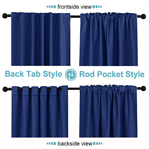 """Nursery Room Thermal Blackout Curtains - RYB HOME ( Wide 42\"""" by Long 54\"""", Navy Blue, One Pair ) Window Covering Draperies Back Tab / Rod Pocket Widly Used with Rods / Hooks / Rings for Kid's Room"""