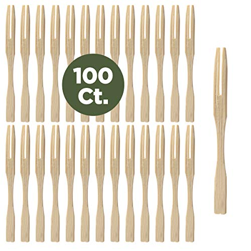 Prexware Bamboo Party Forks for Party Buffet Mini Forks 3.5 Inch 100 Ct. (Gourmet Canape Plate)