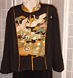 Wearable art jacket size XL ''cranes and wheels'' from Japanese kimono silk #F64
