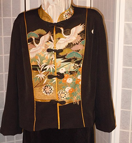 Wearable art jacket size XL ''cranes and wheels'' from Japanese kimono silk #F64 by First Fruits Apparel
