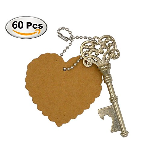 DerBlue 60 PCS Key Bottle OpenersVintage Skeleton Key Bottle OpenerSkeleton Key Bottle Openers Wedding Favors Antique Rustic Decoration with Heart shaped kraft paper label card