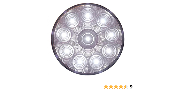 United Pacific 4 Round 10 LED Clear White Reverse Light Kits//Stainless Steel Flange Mount