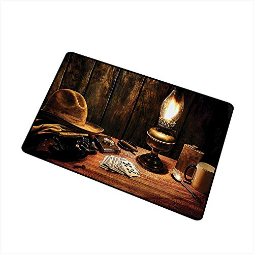 Entrance Door mat Western Decor Mystic Night in Hotel Room Dallas with Lantern Nightstand Table and Poker Card W31 xL47 Suitable for Outdoor and Indoor use Brown