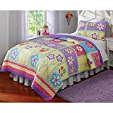 3 Piece Bright Bohemian Floral Patterned Hypoallergenic Quilt Set Full/Queen Size, Printed Graphic Blossoming Garden Flowers Geometric Stripes Bedding, Classic Kids Modern Bedroom Style, Multicolor