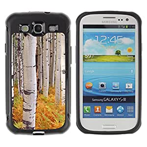 WAWU Funda Carcasa Bumper con Absorci??e Impactos y Anti-Ara??s Espalda Slim Rugged Armor -- forest ferns birch trees nature yellow -- Samsung Galaxy S3 I9300