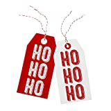 Talking Tables Ho Ho Ho Paper Christmas Present Gift Tags (8 Pack), Red