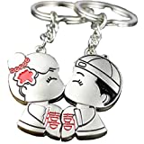 DreamsEden Romantic Chinese Lovers Kiss with Double Happiness Couple Keychains (With Gift Box) Best Key Ring Key Chain Gift for Valentine Wedding Anniversary (A Pair)