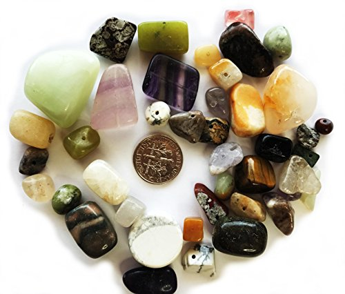 (3 Pack Multi Gemstone Mix Natural/Dyed/Manmade/Imitation and Glass Beads Small to LRG Tumbled Nugget)