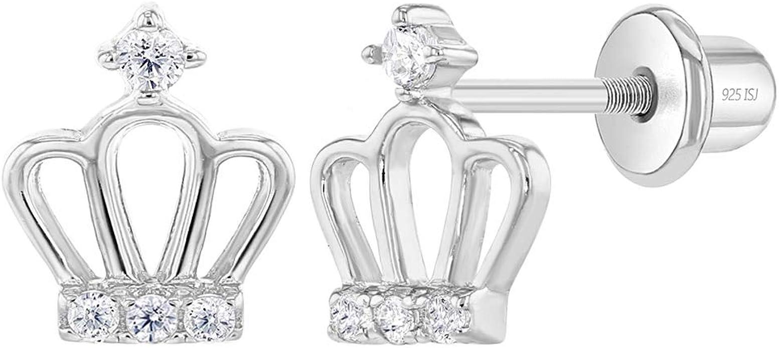 925 Sterling Silver CZ Heart /& Crown Hoop Earrings