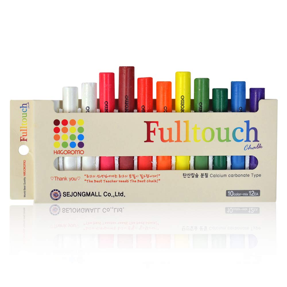 HAGOROMO Fulltouch Color Chalk 1 Box [12 Pcs/10 Color Mix] by Hagoromo