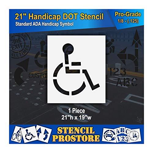 "Pavement Stencils - 21 inch - Handicap - ADA Stencil - 21"" x 19"" x 1/8"" (128 mil) - Pro-Grade"