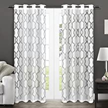 Exclusive Home Curtains Rio Burnout Sheer Grommet Top Window Curtain Panel Pair, Winter White, 52x108