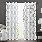 exclusive home curtains rio burnout sheer grommet top window curtain panel pair winter white 54x96