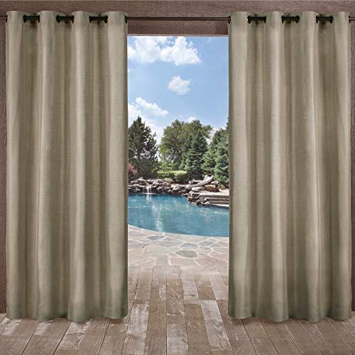 Silk Classic Window Panel - Exclusive Home Curtains Biscayne Indoor/Outdoor Two Tone Textured Window Curtain Panel Pair with Grommet Top, 54x96, Natural, 2 Piece