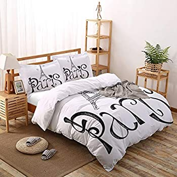 Image of Home and Kitchen Paris 4 Piece Bedding Set Duvet Cover Set- Full Size Ultra Soft Microfiber Quilt Cover with Zipper Closure (1 Comforter Cover + 1 Flat Sheet + 2 Pillowcases)- Black White Eiffel Tower