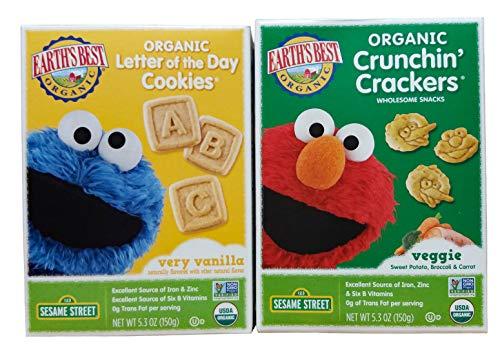 Earth's Best Organic Veggie Crunchin' Crackers (1 Box) and Earth's Best Organic Vanilla Letter of the Day Cookies (1 Box). Plus Free Bonus Disposable Baby Bibs and 1 Baby Washcloth. - Crunchin Crackers