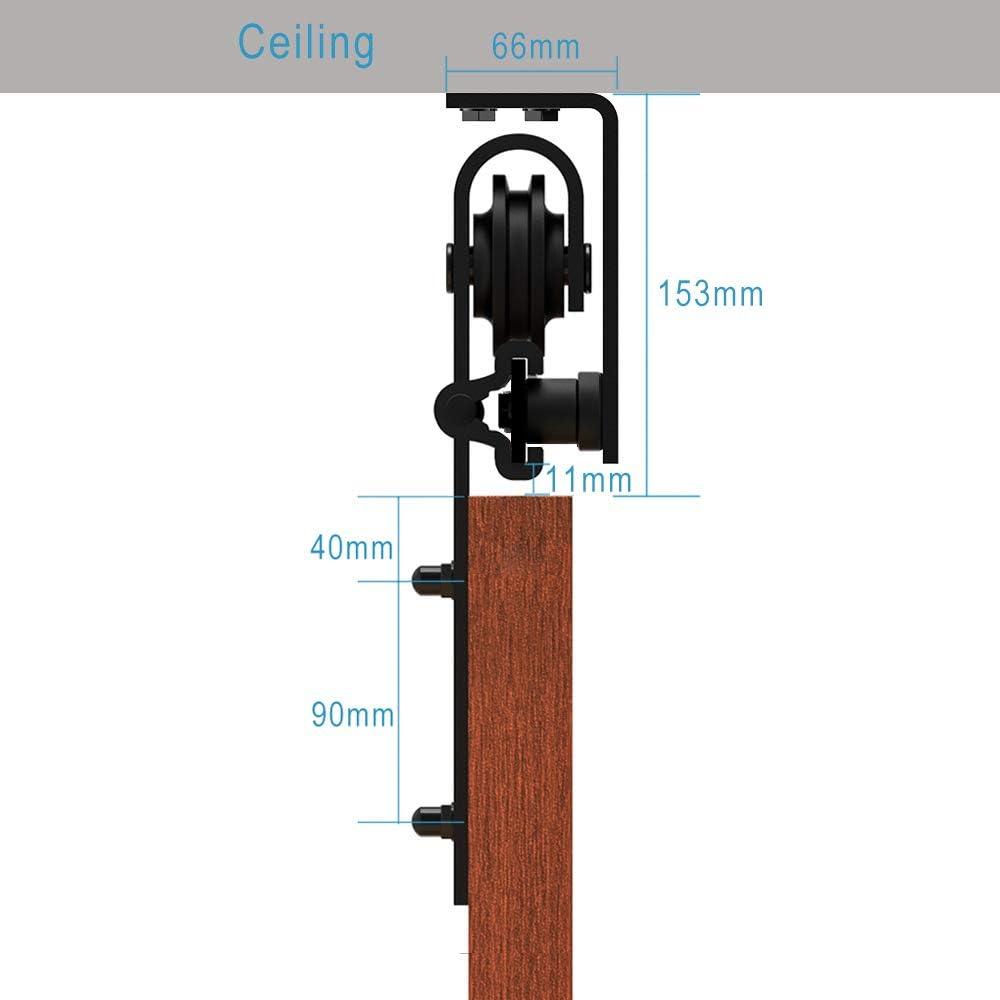 Herraje Puerta Corredera Techo 168cm/5.5ft Negro, CCJH Riel Puerta Corredera Armario, Adecuado para 1 Puerta de 84 cm de Ancho [J Shape Hanger]: Amazon.es: Bricolaje y herramientas
