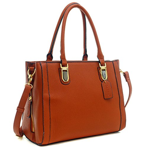 Dasein Buffalo Faux Leather Satchel Tote Shoudler Bag Handbag Purse with Expandable Zipper Sides - Brown