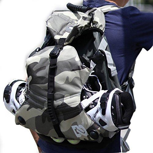 DENUONISS Professional Inline Skates Travel Backpack Waist Backpack (Black Backpack)