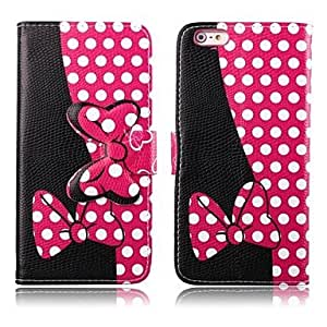 Fashionable Wave Point Pattern PU Leather Cover with Stand and Card Slot for iPhone 6 Plus Mobile Cases