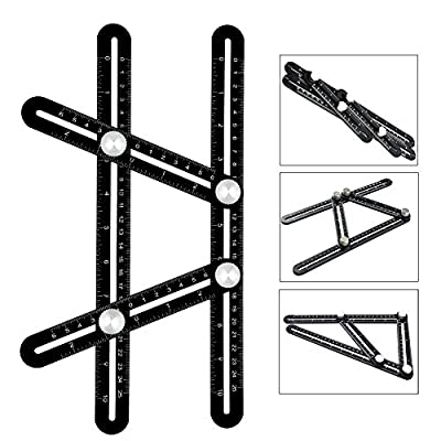 Template Tool, Zpress Premium Aluminum Alloy Multi-Angle Measuring Ruler with Unique Line Level for DIY, Carpenters, Craftsmen