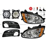Kenworth T660 Combo - 6 Pieces - Kenworth T660 Headlight with Fog Lamp and Bezel Black - Driver & Passenger Side