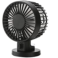 A.B Crew Stylish Double Blades USB Powered 2-Mode Speed Ultra-Quiet Mini Desk Fan with PU Leather Strap(Black)