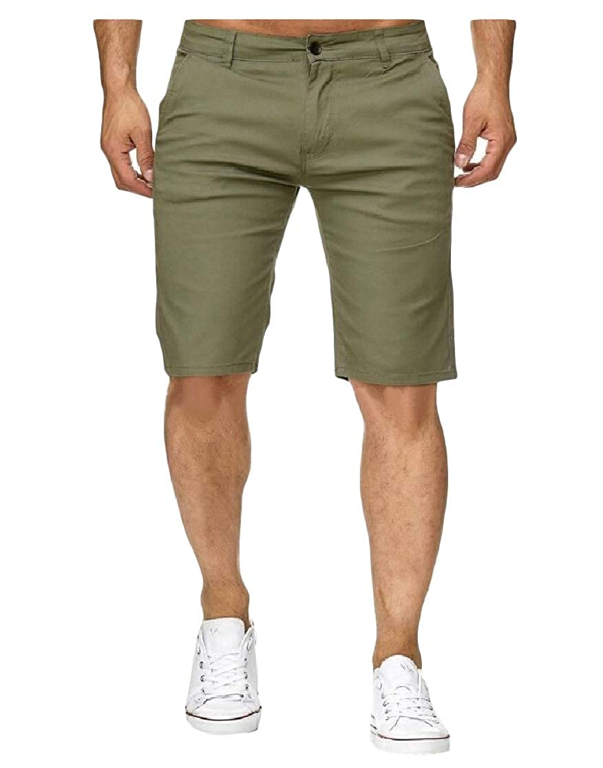 Joe Wenko Men Pants All-Match Pure Color Slim Fit Cotton Short