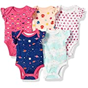Rosie Pope Baby Girls 5 Pack Bodysuits (More Colors Available), Space/Stars, 3-6 Months