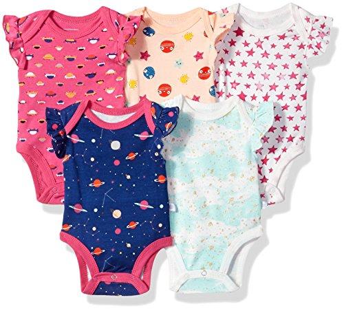 Rosie Pope Girls Baby 5 Pack Bodysuits, Space/Stars,