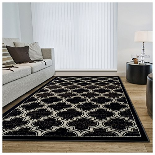 Superior Bohemian Trellis Collection Area Rug, 8mm Pile Height with Jute Backing, Chic Geometric Trellis Pattern, Fashionable and Affordable Woven Rugs - 4' x 6' Rug, Black