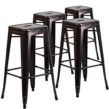 Flash Furniture Backless Metal Indoor/Outdoor Barstool with Square Seat (4 Pack), 30 , Black-Antique Gold