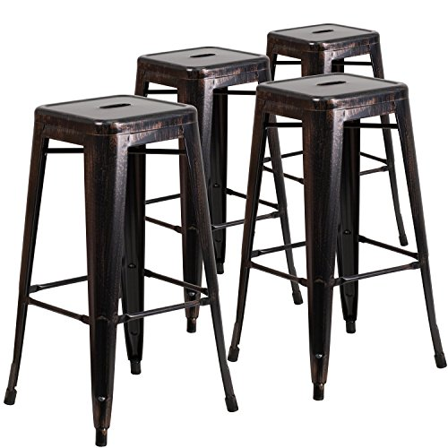 Bar Antique Black Stools (Flash Furniture 4 Pk. 30'' High Backless Black-Antique Gold Metal Indoor-Outdoor Barstool with Square Seat)