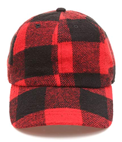 - MIRMARU Men's Wool Blend Baseball Cap with Adjustable Size Strap (Plaid RED,2237)