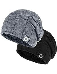 Winter Knit Wool Warm Hat Thick Soft Stretch Slouchy Beanie Skully Cap 14b8503b9bd5