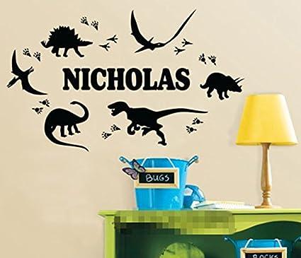 Cool custom made personalized dinosaur footprint name wall sticker boy bedroom nursery wall art decals