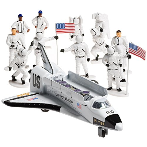 Die-cast Metal Space Shuttle with Astronaut Figures (Set Includes 1 Metal Die-cast Pull and Go Space Shuttle 7'' Long with 12 Astronaut Toy Figurines 3'' Tall)