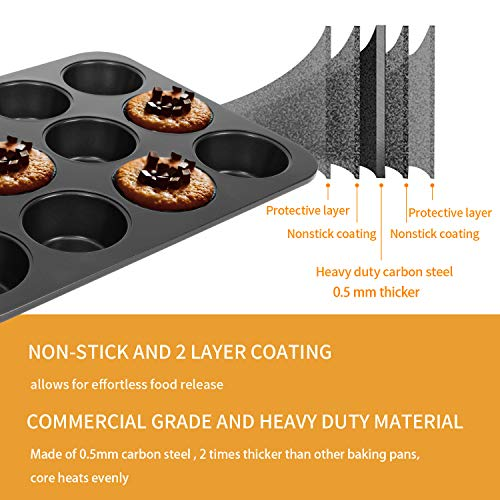 CHEFMADE 12 Cups Muffin Pan Set, 2 Packs Bakeware Non-stick Cupcake Baking Pan Heavy Duty Carbon Steel Pan Muffin Tins Standard Baking Mold For Cakes, Bread FDA Approved