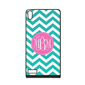 iFUOFF Amazing Cyan and White Zigzag Chevron Pink Circle Monograms Customized Protective Snap On Fashion Case for Sony L36H Xperia Z (Black or White 2 Colors)