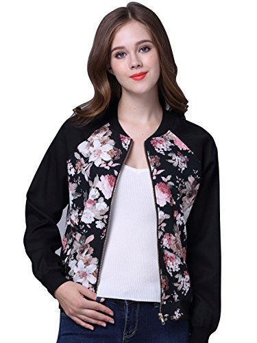 (Choies Women Black Long Sleeve Floral Print Vintage Lightweight Biker Bomber Jacket S)