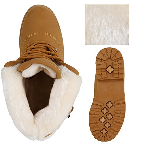 Stiefelparadies Damen Stiefeletten Warm Gefütterte Worker Boots Outdoor Schuhe Flandell Hellbraun