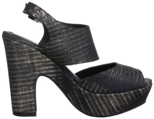 Soles Women's Infinity Textile Ankle Strap Heels Black Bronze HaO2LjCH